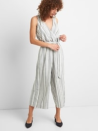 Stripe Sleeveless Wrap Jumpsuit