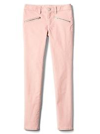 High stretch pink zip super skinny cords