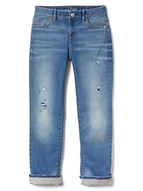 Straight Jeans with Jersey Lining in Stretch