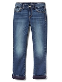 Straight Jeans with Jersey Lining in High Stretch