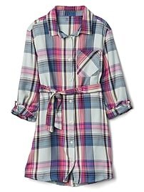 Plaid tie-belt shirtdress