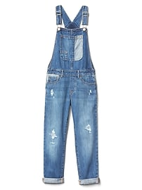 Patchwork denim girlfriend overalls