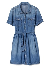 Denim tie-belt shirtdress