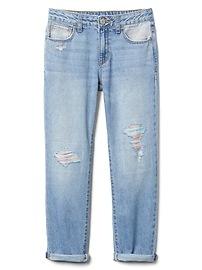 Rainbow Girlfriend Jeans with Rip & Repair Detailing