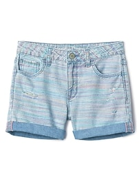 Distressed rainbow stripe girlfriend shorts