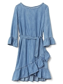 Asymmetrical ruffle chambray wrap dress