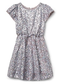 Mauve sequin fit & flare dress