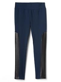 Faux-leather panel ponte pants