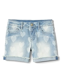 Midi Shorts in Heart Print with Stretch