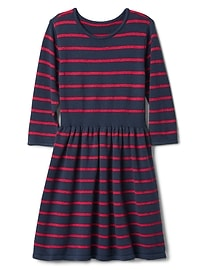 Stripe fit and flare sweater dress