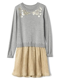 Mix-fabric sparkle sweater dress