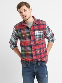 Standard Fit Shirt in Mix-Plaid Flannel with Embroidered Graphic at Back