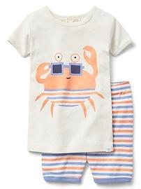 Pyjama court à motifs de crabes en coton biologique