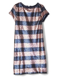 Sequin stripe shift dress