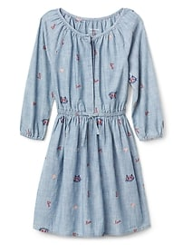 Love embroidery chambray dress