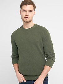 Textured Crewneck Pullover Sweater