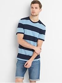 Essential Short Sleeve Rugby Stripe Crewneck Pocket T-Shirt