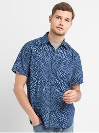 Standard Fit Print Short Sleeve Shirt in Denim