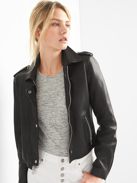 Cropped Leather Jacket by Gap