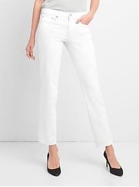 Jean coupe droite classique taille basse moyenne en blanc