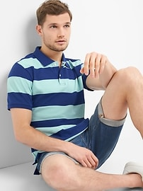 Rugby Stripe Pique Polo Shirt in Stretch