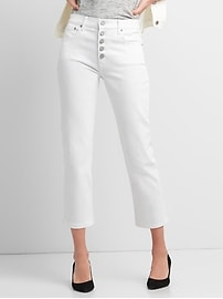 High Rise Straight Crop Jeans with Button-Fly