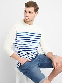 Stripe Crewneck Long Sleeve T-Shirt in Heavyweight Knit