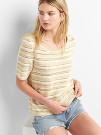 Striped Short Sleeve Crochet Pullover Sweater