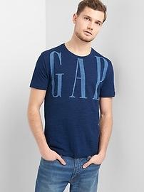 T-shirt à manches courtes avec logo en indigo