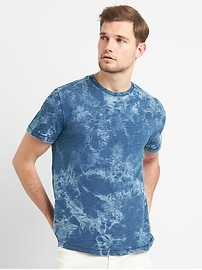 T-shirt ras du cou à poche à imprimé indigo