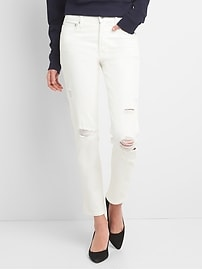 High Rise Slim Straight Jeans with Distressed Detail