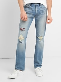 Distressed Jeans in Slim Fit with GapFlex