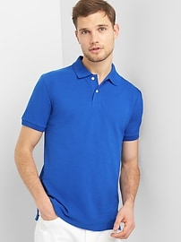Short Sleeve Pique Polo Shirt in Stretch
