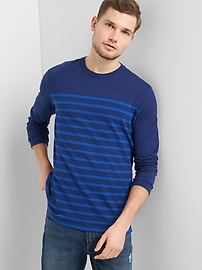 Stripe Crewneck Long Sleeve T-Shirt in Heavyweight Knit