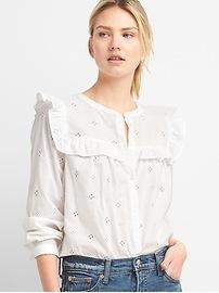 Chemise à bordure à volants ornée de dentelle à œillets