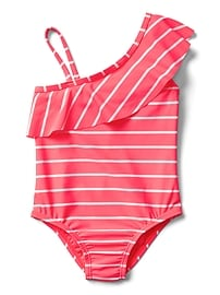 Stripe Asymmetrical Ruffle Swim One-Piece