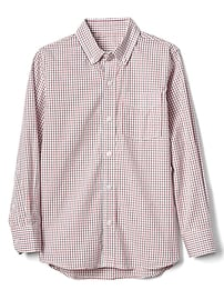 Poplin check button-down shirt