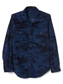 Chemise à manches longues en velours côtelé avec imprimé camouflage