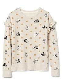 GapKids &#124 Disney Mickey Mouse and Minnie Mouse ruffle sweatshirt
