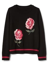 Pull ras du cou à fleurs avec motif en intarsia