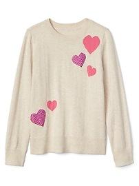 Studded Heart Crewneck Sweater