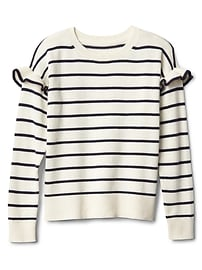 Stripe ruffle sleeve sweater
