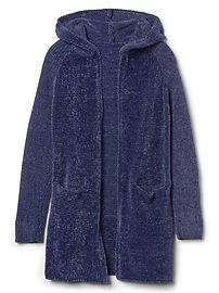 Chenille hoodie cardigan
