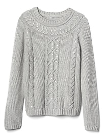 Sequin cable-knit sweater