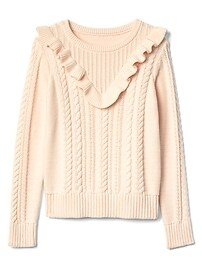 Ruffle cable-knit sweater