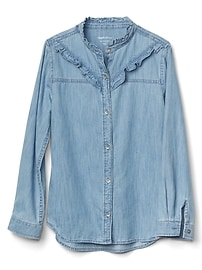Ruffle long sleeve denim shirt