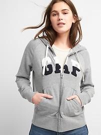 Colorblock logo zip-front hoodie