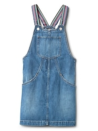 Rainbow Denim Skirt Overalls