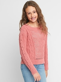 Cable-Knit Textured Sweater