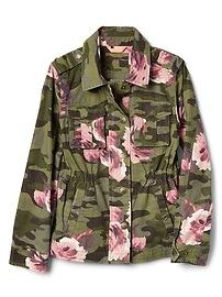 Floral Camo Shirt Jacket